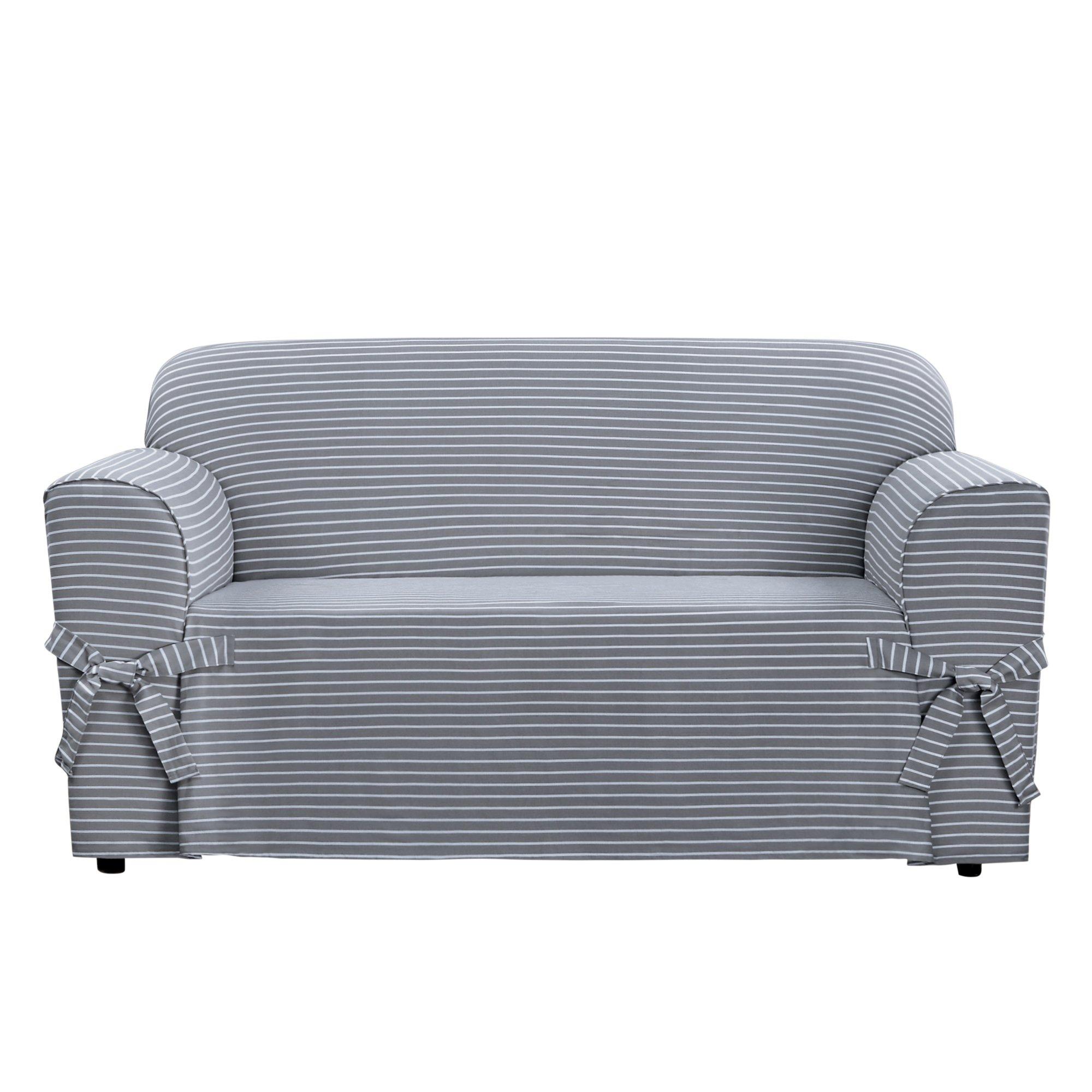 Sure Fit SF46204 Horizontal Club Stripe 100% Cotton 1 Piece Loveseat Slipcover, Limestone Gray by Surefit
