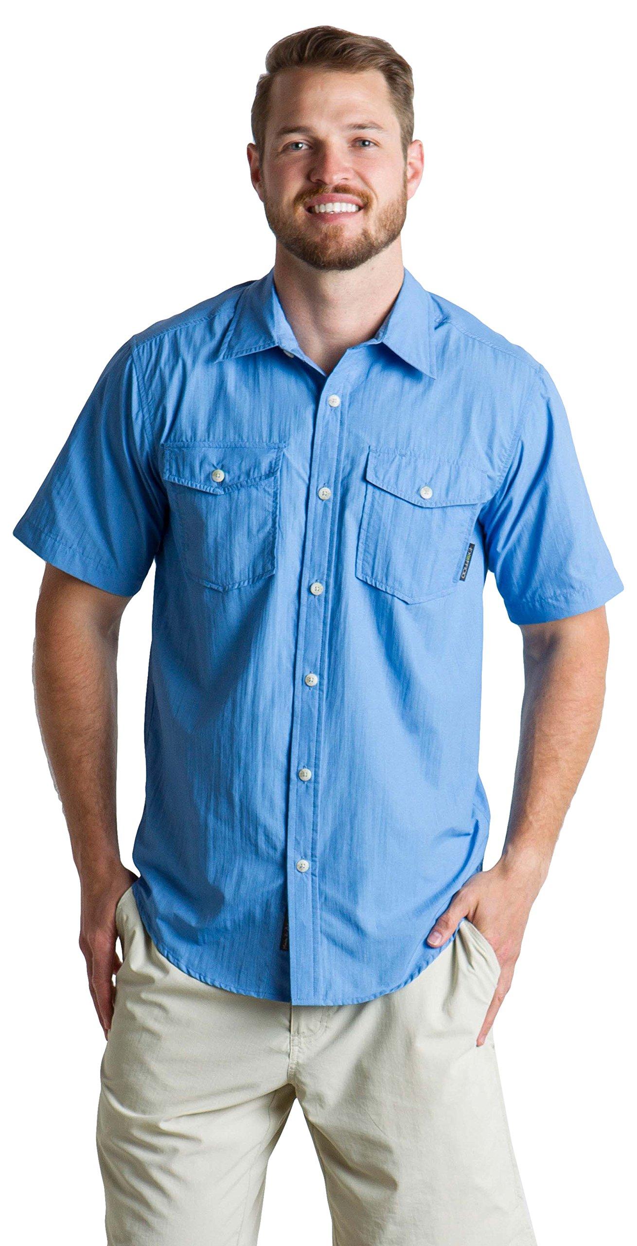 ExOfficio Men's Syros Breathable Short-Sleeve Shirt, Silverlake, Large