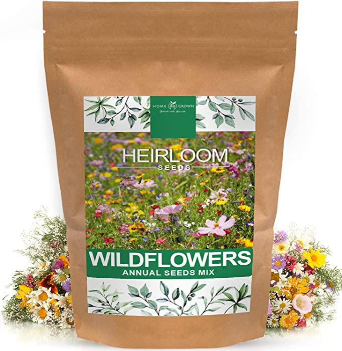 Wildflower Seeds | Mix of 21 Different Varieties of Non-GMO Wildflower Seeds | Bee and Butterfly Garden Seeds | Colorful Annual Flower Seeds | American Wildflower Seeds for Your Garden