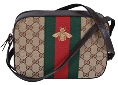 ae396a85b1b Gucci Women s Canvas and Leather Green Red Web BEE Crossbody Bag (Beige)
