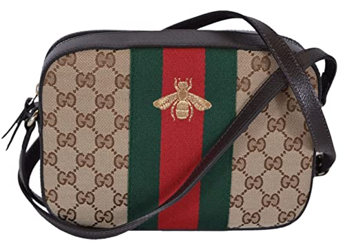 b80e15e4305 Amazon.com  Gucci Women s Canvas and Leather Green Red Web BEE Crossbody Bag  (Beige)  Shoes