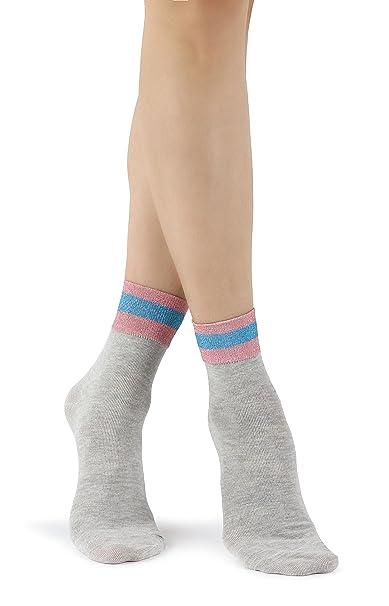 Mixmi Boutique Calcetines tobilleros de algodón gris retro elegantes para mujer con rayas de purpurina