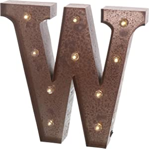 """Barnyard Designs Metal Marquee Letter W Light Up Wall Initial Wedding, Home and Bar Decoration 12"""" (Rust)"""