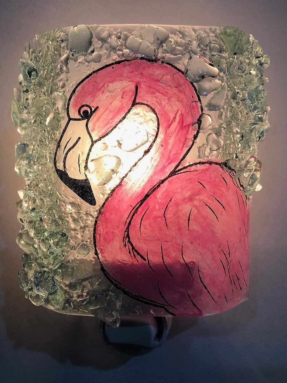 Pink Flamingo Recycled Glass Night Light nightlight Nitelite Handmade Art Deco style lighting