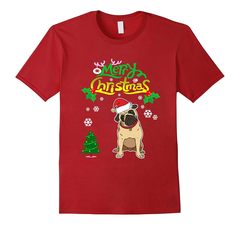 cute pug t shirt merry christmas dog tee for girls boys men cl