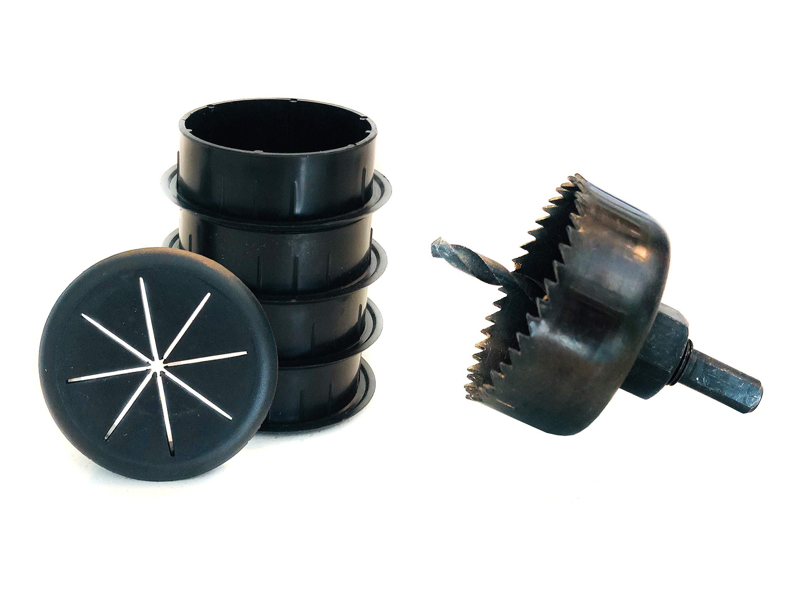 Desk Grommet (5 Pack) + Hole Saw kit - Ultimate Grommet Hole Bundle Kit 2-3/8''