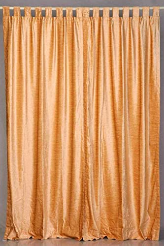 Indian Selections Lined-Peach Tab Top Velvet Curtain/Drape/Panel