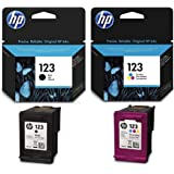 HP 123 Ink Cartridge Set, Black - F6V17AE & Tri-color - F6V16AE
