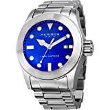 Akribos XXIV Men's Sharp Watch - Bold, Luminescent, Hour Markers Glossy Dial and Stainless Steel Bracelet - AK730