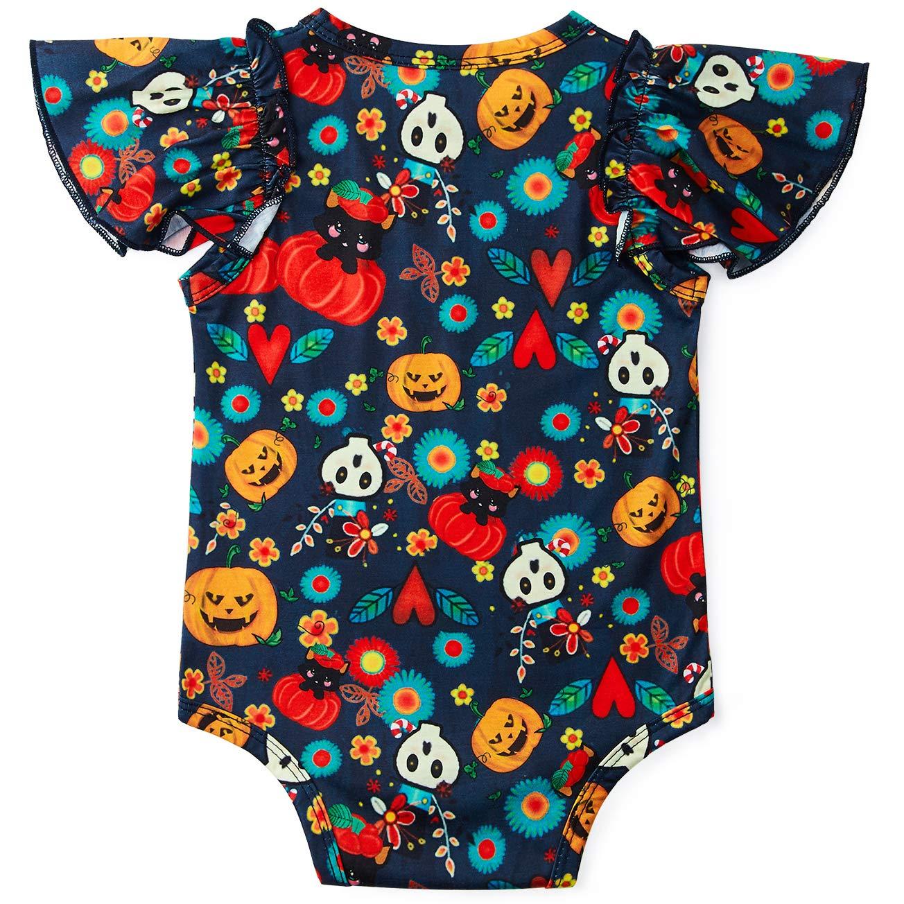 Goodstoworld Baby Ruffle Girl Romper Infant Funny Ghost Festival Graphics Jumpsuit