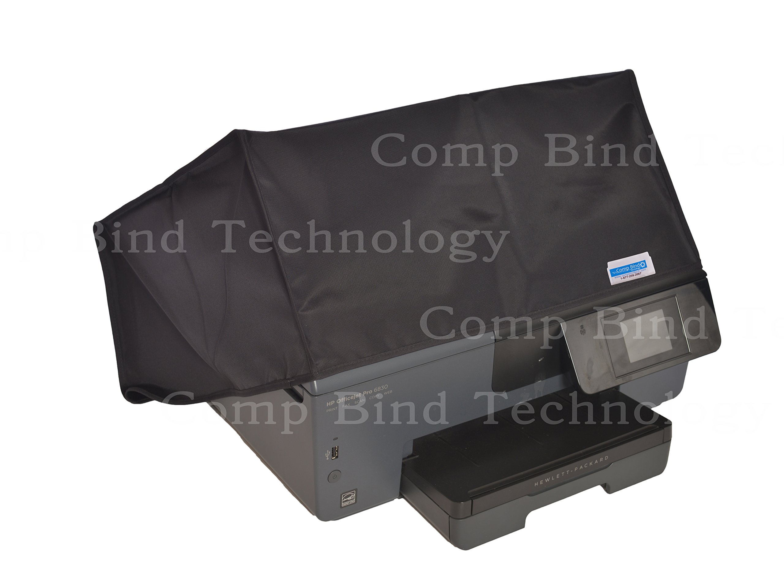 Comp Bind Technology Printer Dust Cover for HP Envy Photo 7855 All-in-One Printer, Black Nylon Anti-Static Dust Cover By Viziflex Seels, 17.8''W x 16.2''D x 7.5''H''