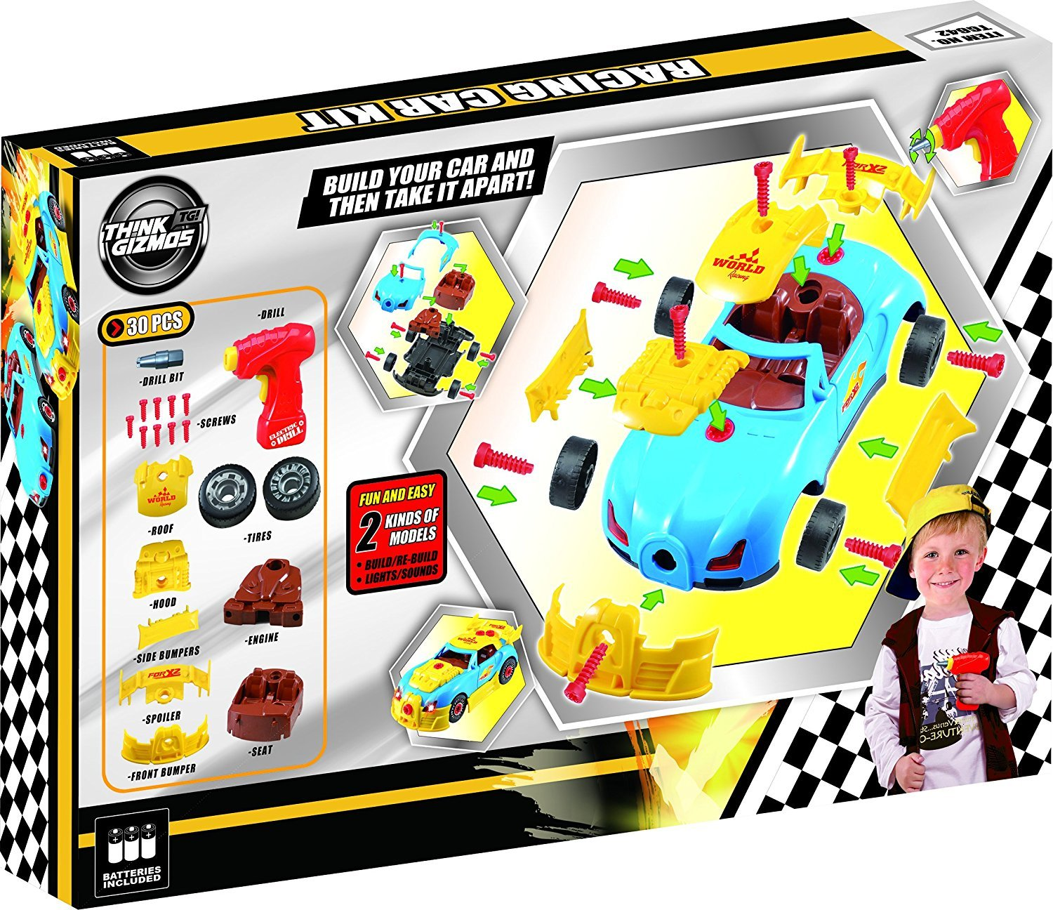 take apart toy racing car construction toy kit for kids build your own car kit version 2 30 take apart pieces with realistic sounds lights by