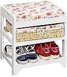 ts-ideen–Asiento con estante para zapatos en color blanco con cesta y estantería