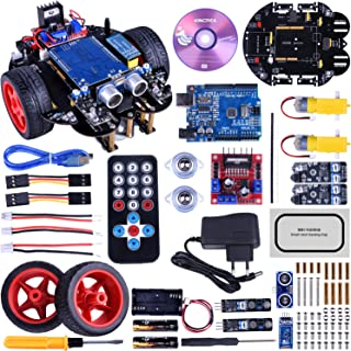 Kincrea Smart Robot Car Kit for Arduino UNO R3 with Line Tracking Module,Ultrasonic Sensor,IR Remote Control Module and Android Bluetooth APP Control JK11
