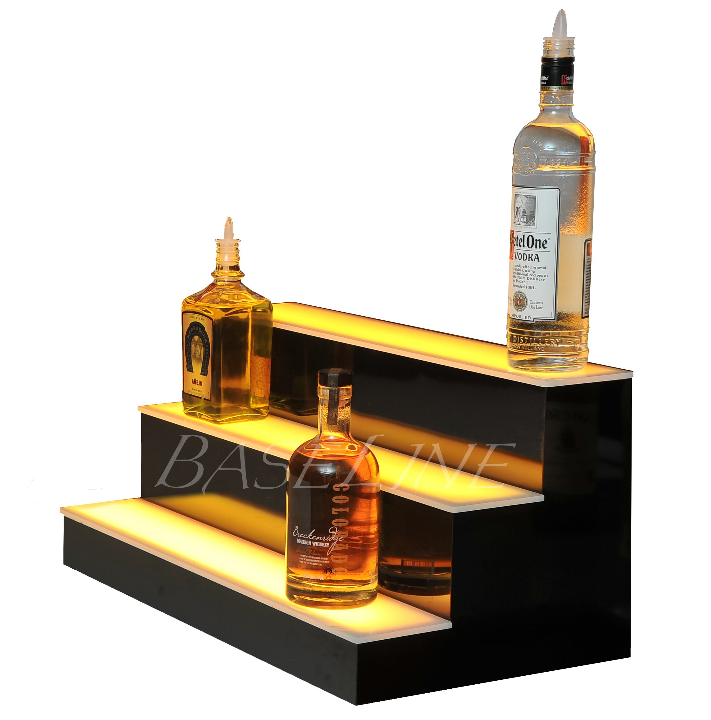 24'' 3 Step Lighted Liquor Bottle Display Shelf with LED Color Changing Lights