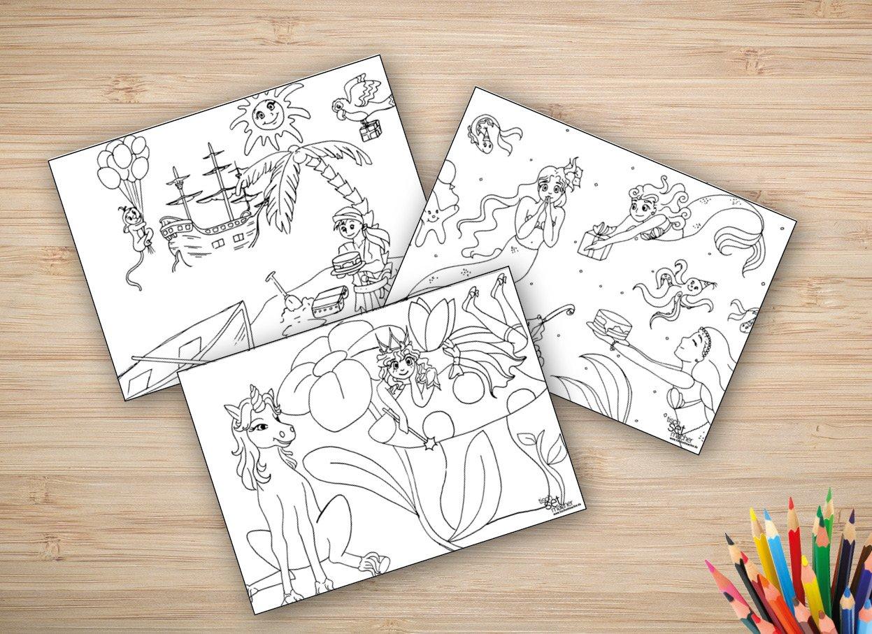 Tischsets I Platzsets - Ausmalbilder für Kinder - \