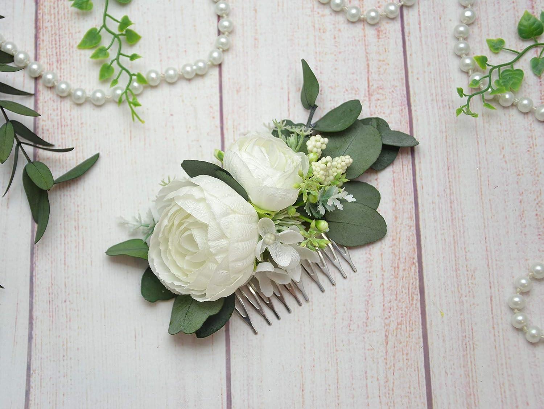 White flower comb Peony floral comb Bridal headpiece Bride hair clip Eucalyptus hair piece for girl