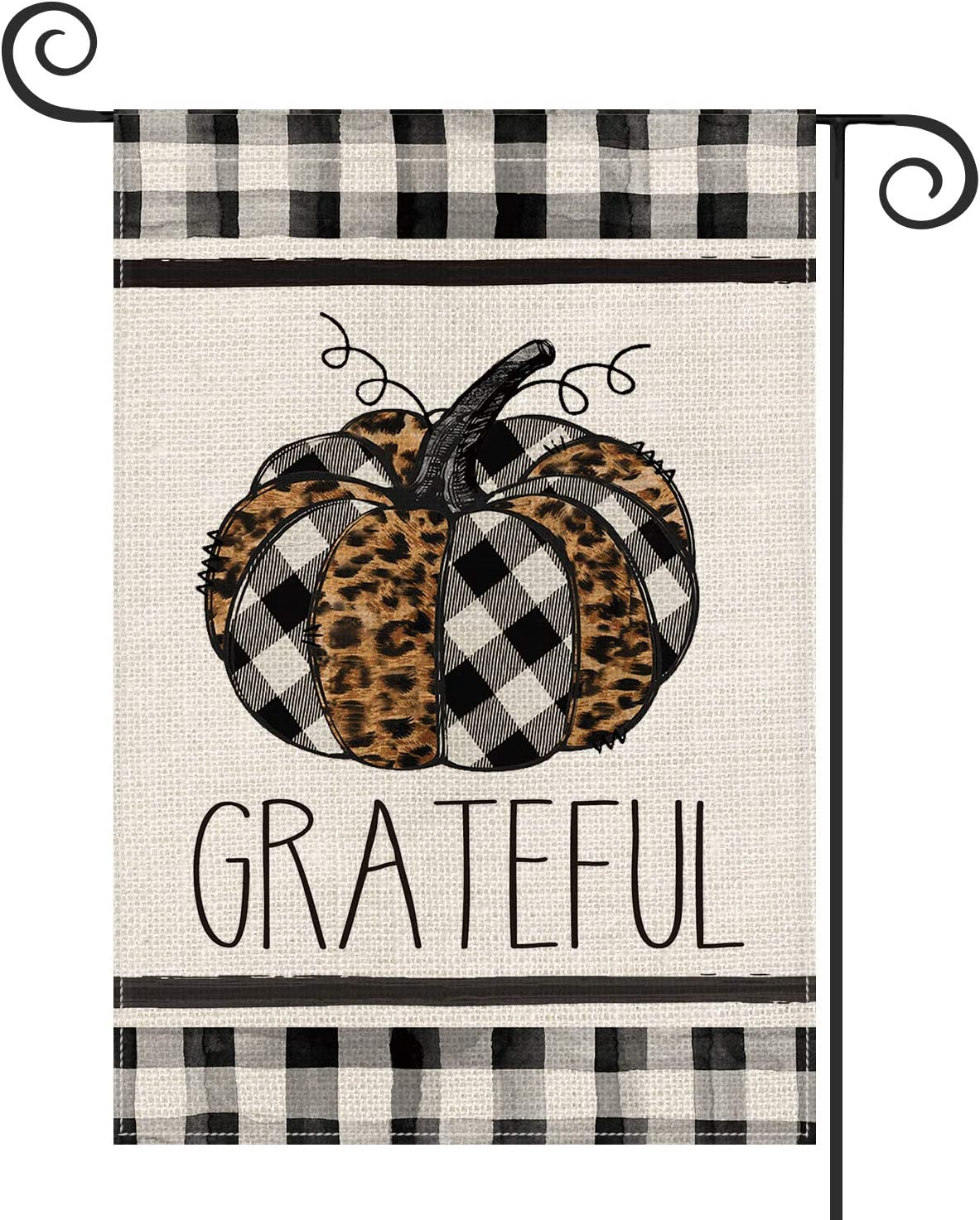 AVOIN Fall Grateful Watercolor Buffalo Check Plaid Leopard Pumpkin Garden Flag Vertical Double Sized, Seasonal Autumn Thanksgiving Yard Outdoor Decoration 12.5 x 18 Inch