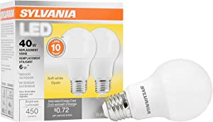 SYLVANIA, 40W Equivalent, LED Light Bulb, A19 Lamp, 2 Pack, Soft White, Energy Saving & Longer Life, Value Line, Medium Base, Efficient 6W, 2700K