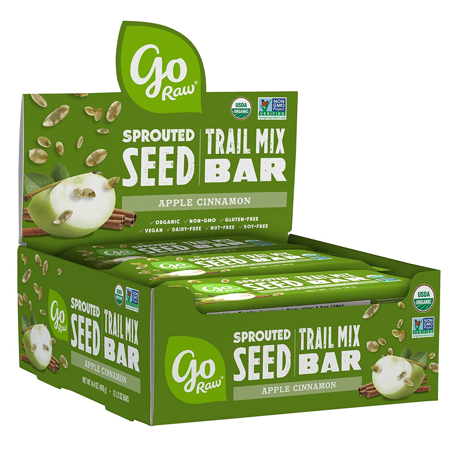 Go Raw Sprouted Seed Trail Mix Bars Snack Gluten Free, Paleo, Vegan, Natural, Organic Nut Free Apple Cinnamon, 12 Ounce (Pack of 12)