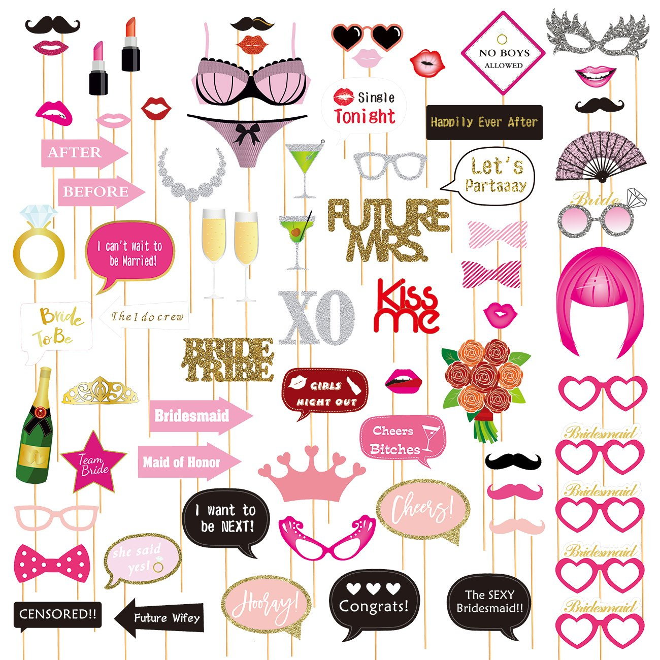 72-Pack Bachelorette Party Photo Booth Props - Bridal Party Props, Selfie Props, Funny Prop Signs, Assorted Designs by Juvale