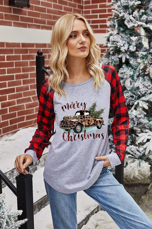IHOT Merry Christmas Graphic Shirt Women Buffalo Plaid Splicing Long Sleeve Raglan Tops Casual Tees