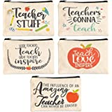 Pencil Pouches with Zipper, Teacher Appreciation Gifts (9 x 5.9 In, 5 Designs, 5 Pack)