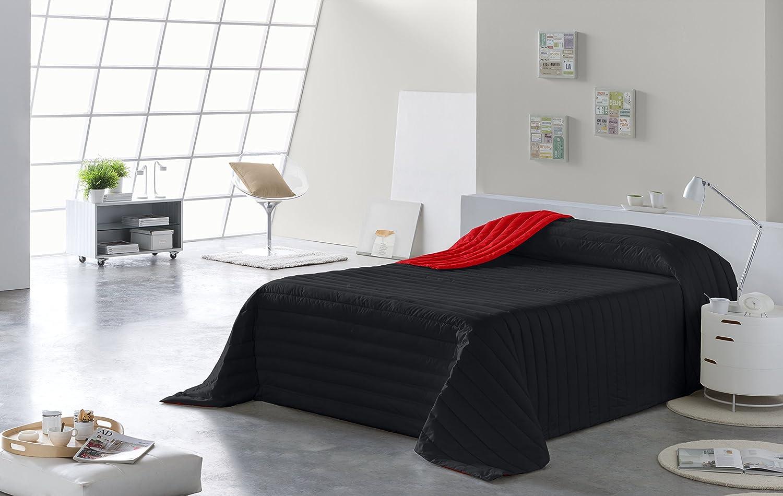 Colcha Todo Uso Bicolor Rojo//Negro, Cama 135, 235 x 270 Fibra 120 gr, Lucena Cantos