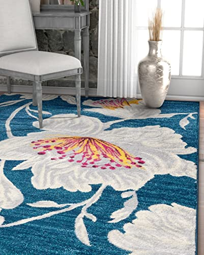 Well Woven Adela Floral Blue Grey Modern Area Rug 8×11 7'10″ x 10'6″ Soft Plush Brush Stroke Carpet