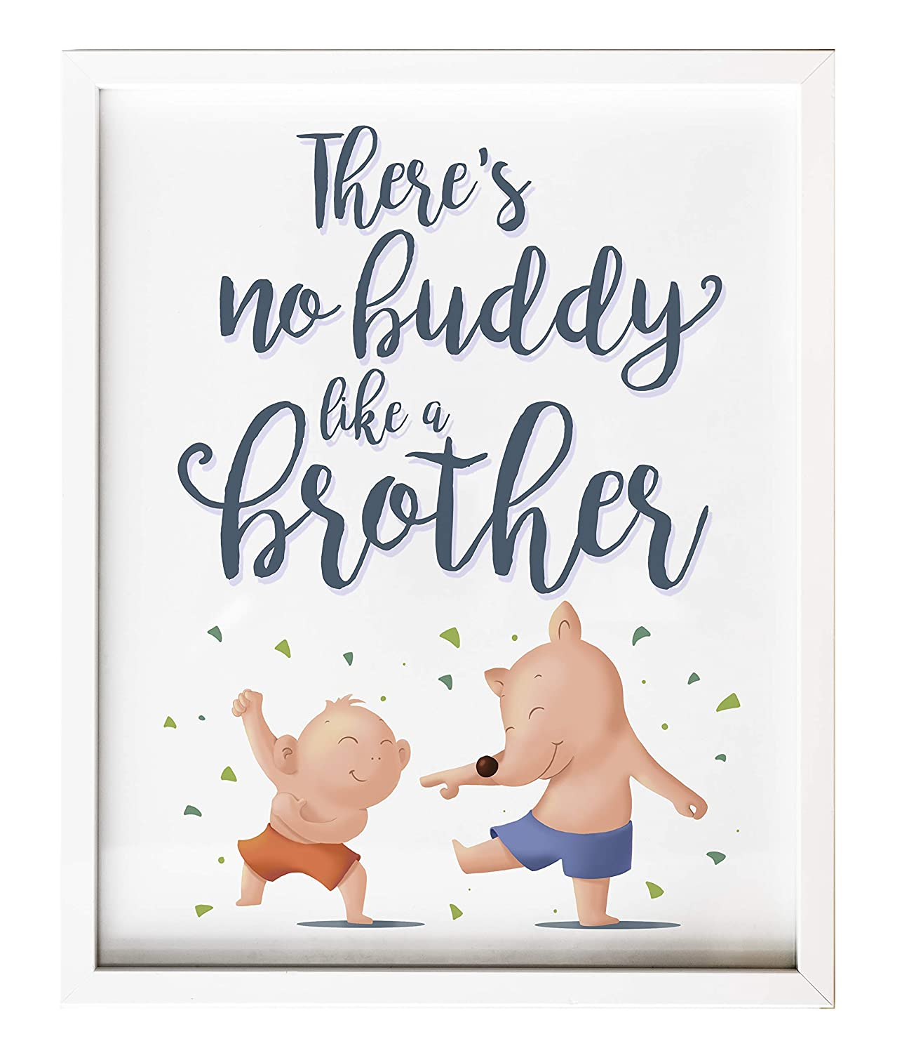 Brothers and Friends Nursery Wall Art Print Modern Bedroom Decor Sibling Gift New Baby Shower Arrival Present Typographic Black and White