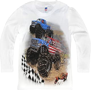 product image for Shirts That Go Little Boys' Long Sleeve Go USA Monster Trucks Racing T-Shirt