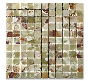 Multi Green Onyx Polished 1 X Mosaic Tile On Mesh