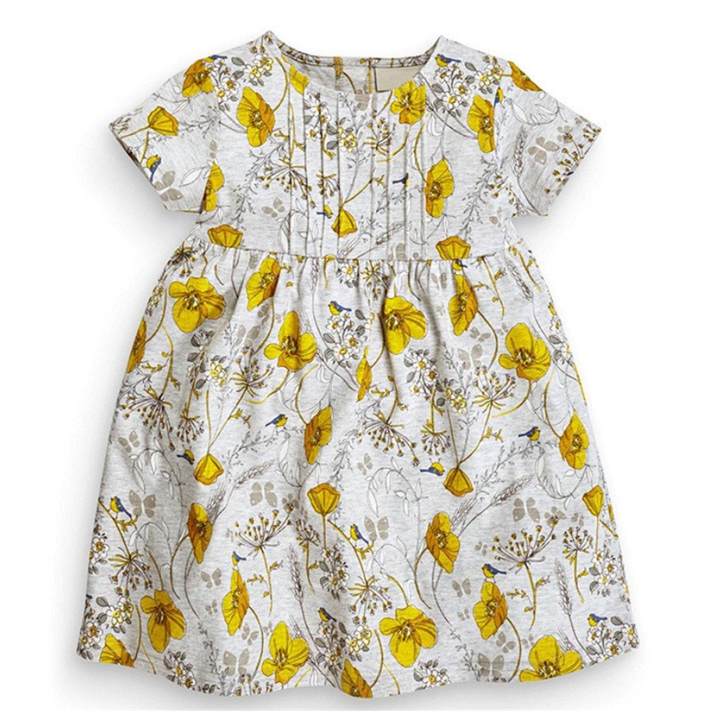 71432ed2dd3b Amazon.com  Nerefy 2018 New Summer Baby Girls Dress Kids Cotton Floral  Short Sleeve Dresses  Clothing