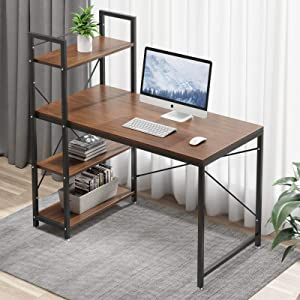 Tower Computer Desk with 4 Tiers Shelves - 47.6 inch Writing Study Table with Bookshelves Study Desk Modern Steel Frame Compact Wood Desk Home Office Workstation