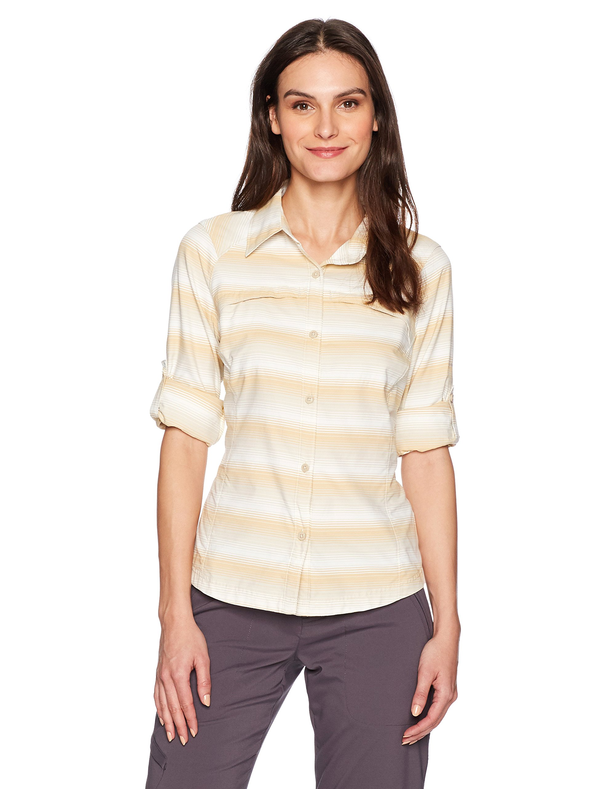 Columbia Silver Ridge Plaid Long Sleeve Shirt, Fossil Ombre Stripe, Small by Columbia