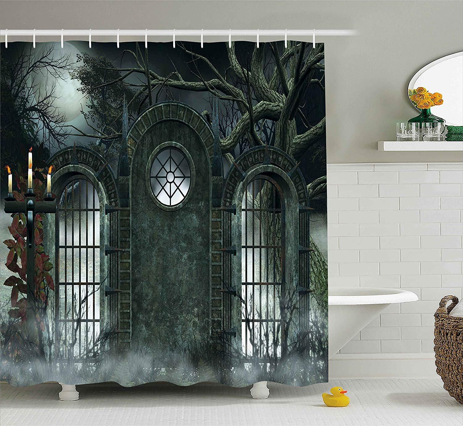 Yomyceo Horror House Decor Shower Curtain by, Moon Halloween Ancient Historical Gate Gothic Background Candles Fiction View, Fabric Bathroom Decor Set with Hooks, 72X72 Inches, Hunter Green