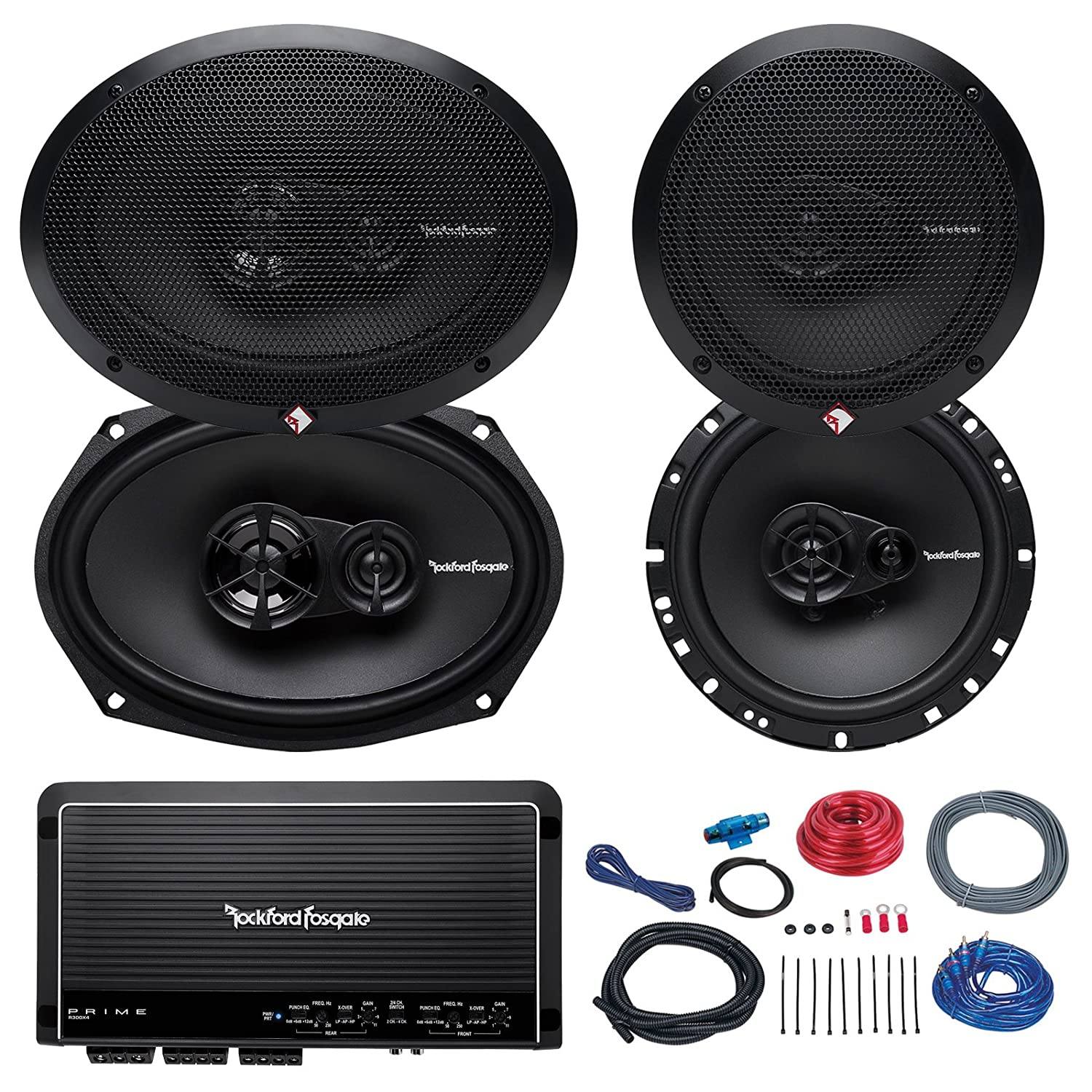 Shopping On The Web Car Speaker And Amp Combo Of 2x Rockford Fosgate Wiring Kit R165x3 Prime 65 Inch 180 Watt