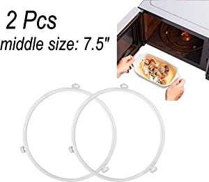 """Proshopping 2 PCS Microwave Turntable Ring, 7.5 Inch Rotating Ring Roller, Middle Glass Plate Tray Support Holder, Replacement Inner ring - for 10.6""""-12.4"""" Microwave Oven Glass Turntable Plate (White)"""