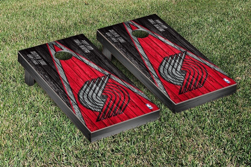 Portland Blazers Trailblazers NBA Basketball Regulation Cornhole Game Set Triangle Weathered Version