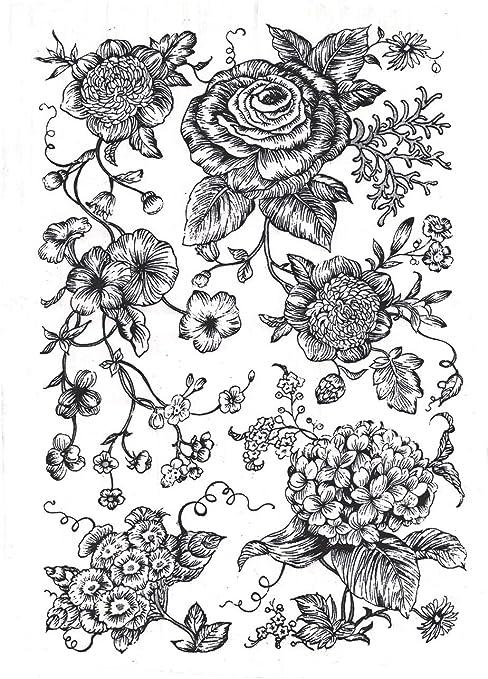 Sanbao Studio Ceramic Decals Black, 9 x 6.5 inch Cherry Flower 3
