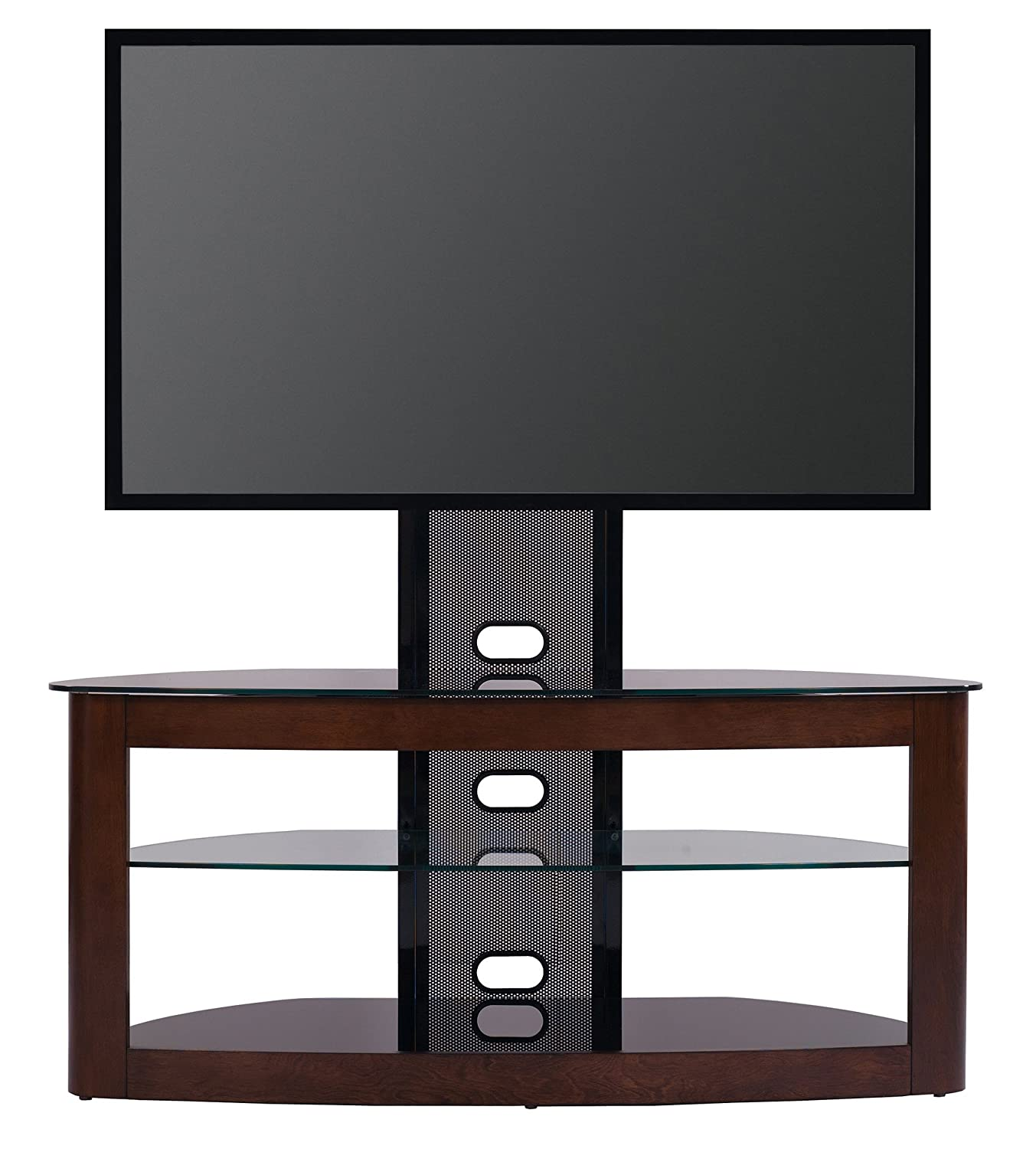 "Amazon TransDeco TV Stand with Mount for 35 65"" TV Dark Oak"