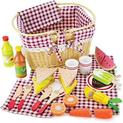 Imagination Generation Slice & Share Picnic Basket - Wood Eats! Play Food Playset with Cutting Fruits, Veggies, Tablecloth and More - Great for Indoor & Outdoor Pretend Play (34 pcs.): Toys & Games