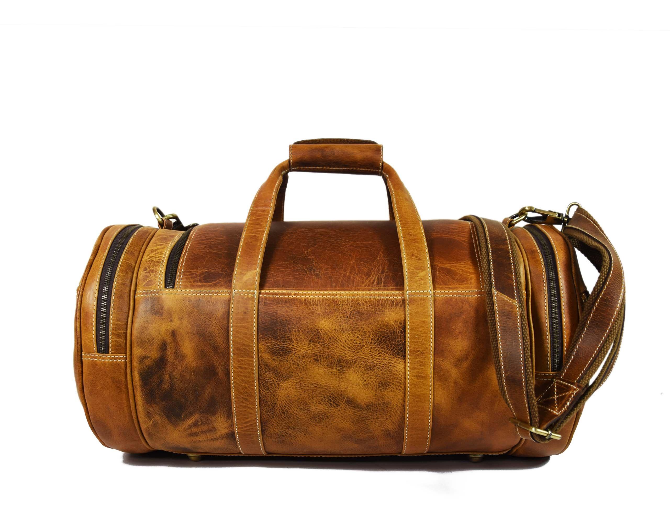 Travel Duffel Overnight Barrel Weekend Leather Bag by Aaron Leather (Brown) by Aaron Leather (Image #3)