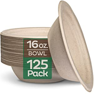 100% Compostable 16 oz. Paper Bowls [125-Pack] Heavy-Duty Disposable Bowls Bulk Pack, Eco-Friendly Natural Unbleached Bagasse, Hot or Cold Use, Biodegradable Made of Sugar Cane Fibers