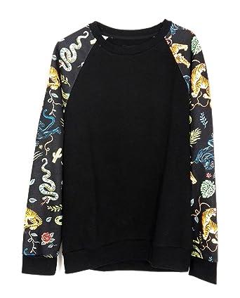 1948297cc4e0e7 Zara Men Sweatshirt with Printed Sleeves 0722/430 - Black - XL:  Amazon.co.uk: Clothing