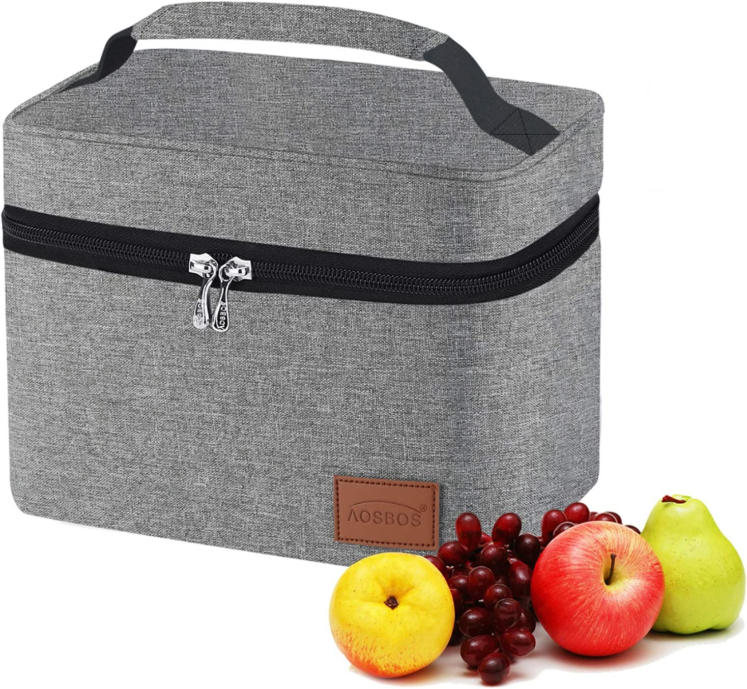 Aosbos Lunch Bag for Men Women, Insulated Cooler Bags Large Capacity Thermal Bags for Food Containers Bento Box Meal Prep Organizer, Adult Lunch Tote Bags for Work School Office Picnic 7.5L, Gray
