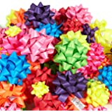 120-Count Gift Wrap Bows - Includes Large, Medium, Small Sizes - Perfect for Christmas - Peel and Stick, Matte, Assorted Neon Colors