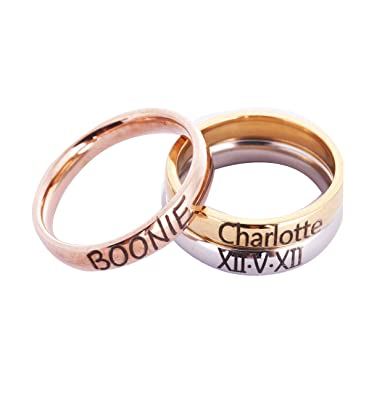 b886ca9168bca Amazon.com: Personalized Stackable Name Ring Stacking Rings Band ...