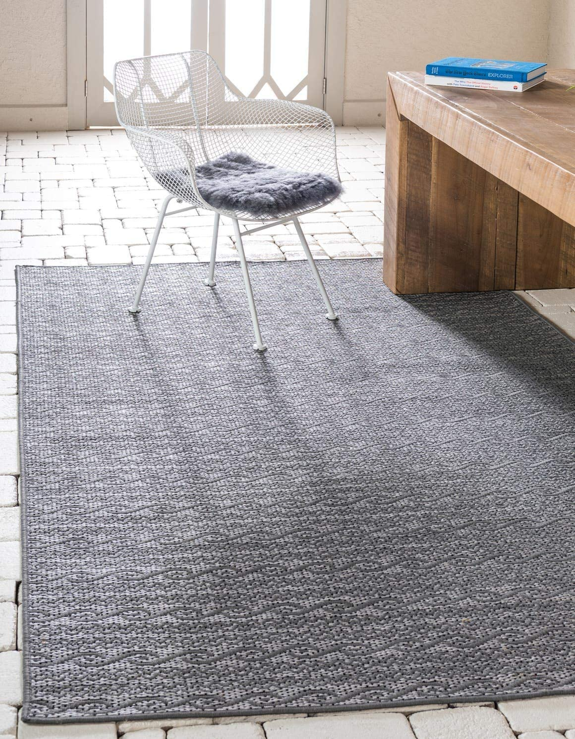 Unique Loom Outdoor Modern Collection Striped Casual Transitional Indoor and Outdoor Flatweave Gray Area Rug 8 0 x 11 4
