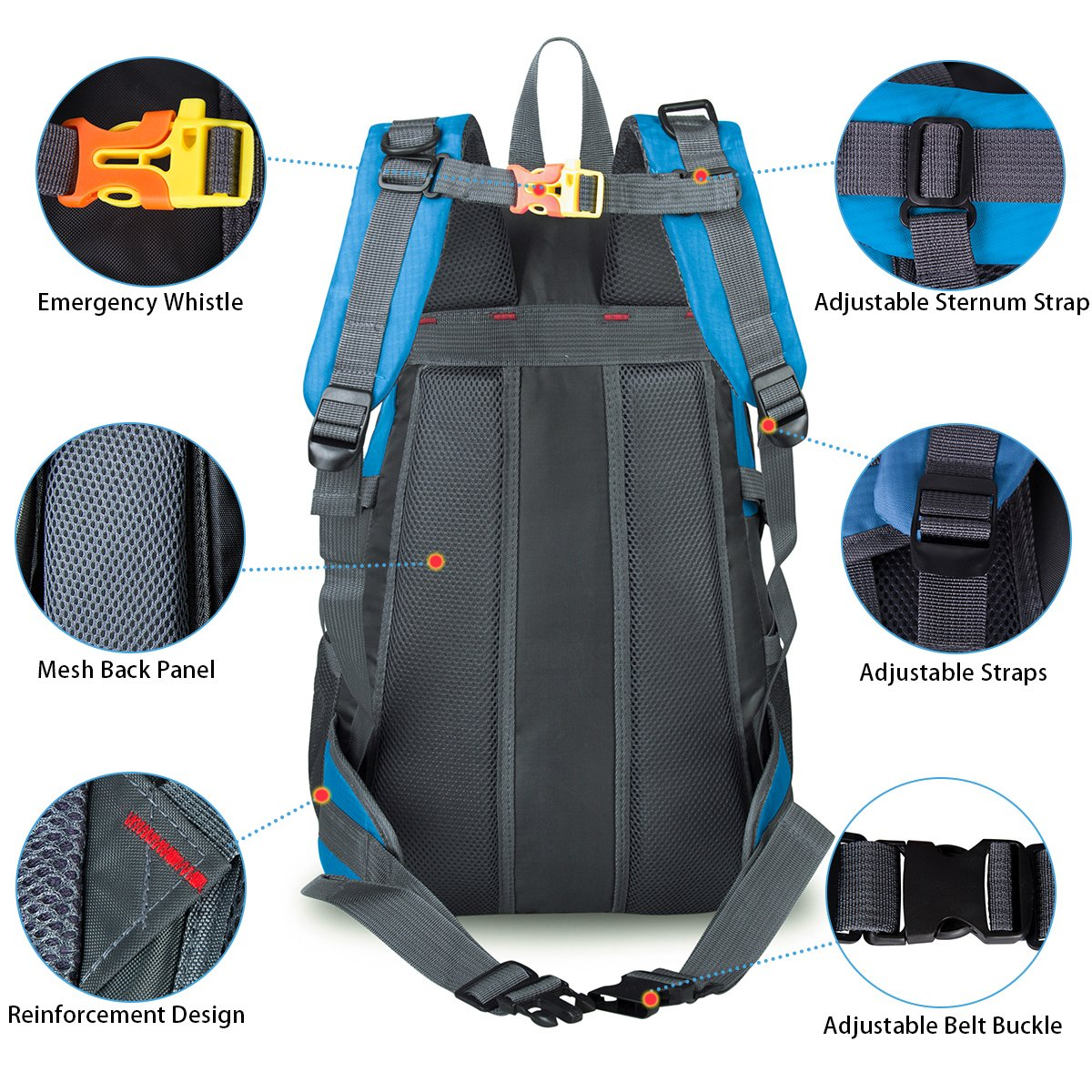 Water Resistant Sports Backpack Lightweight Outdoor Bag for Travel Climbing Camping Mountaineering School Bag Hiking Daypack Size 11.8\'\'x 8.7\'\'x 20.5\'\' (Blue)